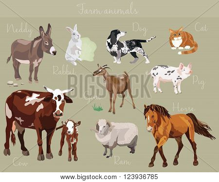 Vector set of different farm animals isolated on dark green background.