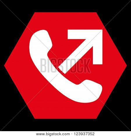 Outgoing Call vector symbol. Image style is bicolor flat outgoing call icon symbol drawn on a hexagon with red and white colors.