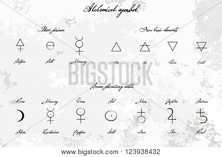 Medieval Magical Alchemical science signs set hand-drawn ink style. Primes basic elements planetary metals with hand drawn vintage title. Alchemy collection. philosophy occultism