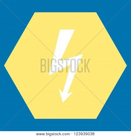 High Voltage vector symbol. Image style is bicolor flat high voltage iconic symbol drawn on a hexagon with yellow and white colors.