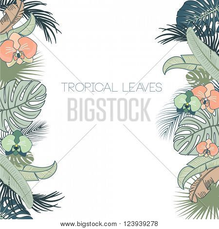 Vector tropical foliage and flowers frame, green and turquoise colors