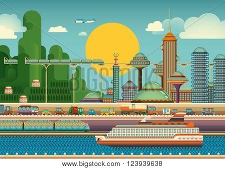 Scene of a modern city. Vector illustration.