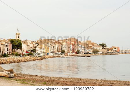 Shellfish and oyster producing village Bouziges on French coast