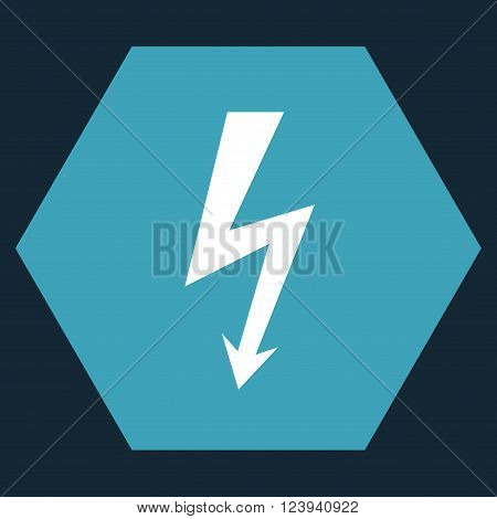 High Voltage vector icon symbol. Image style is bicolor flat high voltage iconic symbol drawn on a hexagon with blue and white colors.