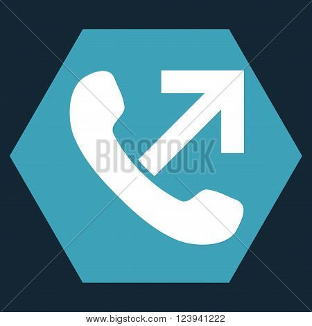 Outgoing Call vector icon. Image style is bicolor flat outgoing call icon symbol drawn on a hexagon with blue and white colors.