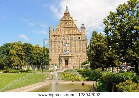 TORUN, POLAND - JULY 7, 2009: Designed by Habicht in Dutch renaissance style for Reichsbank, now the Collegium Maximum building of the Nicolaus Copernicus University which houses the University's museum