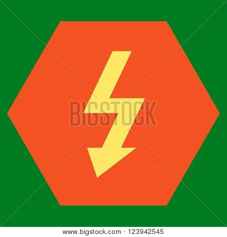 High Voltage vector icon symbol. Image style is bicolor flat high voltage iconic symbol drawn on a hexagon with orange and yellow colors.