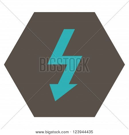 High Voltage vector symbol. Image style is bicolor flat high voltage icon symbol drawn on a hexagon with grey and cyan colors.