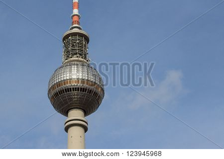 Berlin, Germany - march 30, 2016: Fernsehturm (Television Tower / Tv Tower) located at Alexanderplatz in Berlin, Germany