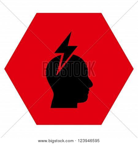 Headache vector icon. Image style is bicolor flat headache icon symbol drawn on a hexagon with intensive red and black colors.