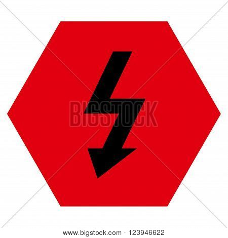 High Voltage vector pictogram. Image style is bicolor flat high voltage iconic symbol drawn on a hexagon with intensive red and black colors.
