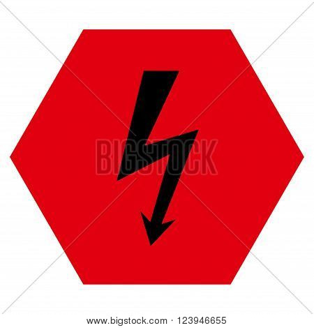 High Voltage vector pictogram. Image style is bicolor flat high voltage icon symbol drawn on a hexagon with intensive red and black colors.