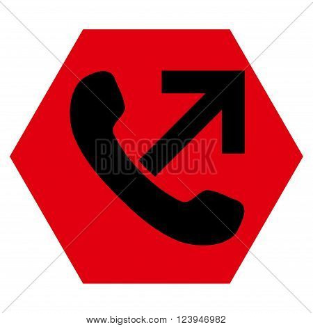 Outgoing Call vector icon symbol. Image style is bicolor flat outgoing call icon symbol drawn on a hexagon with intensive red and black colors.