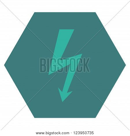 High Voltage vector symbol. Image style is bicolor flat high voltage iconic symbol drawn on a hexagon with cobalt and cyan colors.
