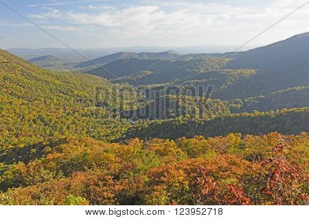 Shadows Moving into a Mountain Valley in Fall in Shenandoah National Park in Virginia