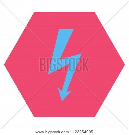 High Voltage vector symbol. Image style is bicolor flat high voltage pictogram symbol drawn on a hexagon with pink and blue colors.