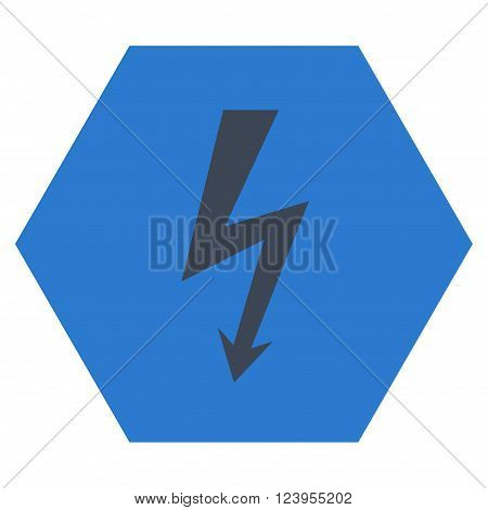 High Voltage vector pictogram. Image style is bicolor flat high voltage pictogram symbol drawn on a hexagon with smooth blue colors.