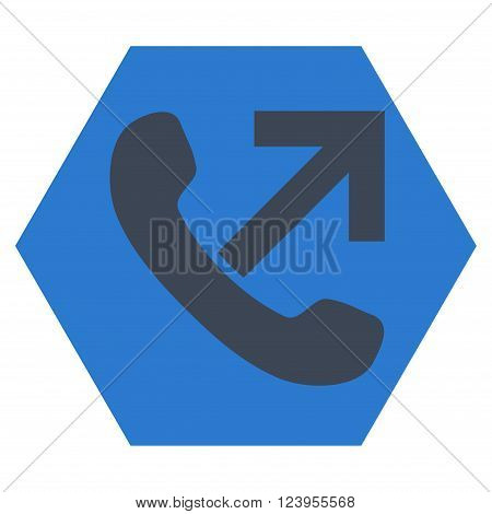 Outgoing Call vector pictogram. Image style is bicolor flat outgoing call icon symbol drawn on a hexagon with smooth blue colors.