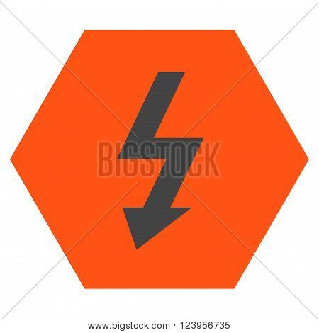 High Voltage vector symbol. Image style is bicolor flat high voltage icon symbol drawn on a hexagon with orange and gray colors.