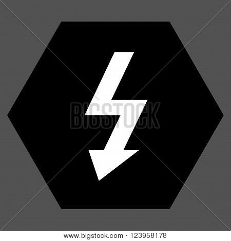 High Voltage vector icon. Image style is bicolor flat high voltage pictogram symbol drawn on a hexagon with black and white colors.
