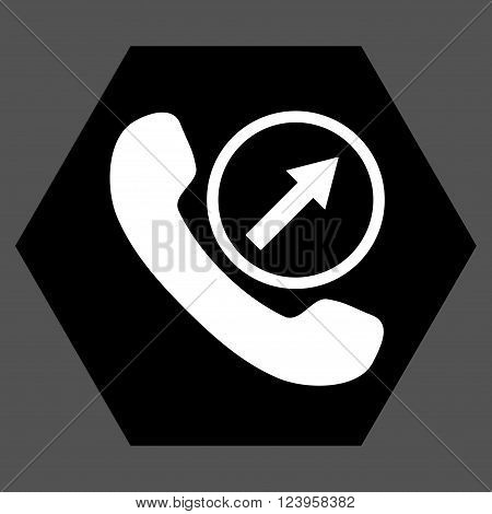 Outgoing Call vector pictogram. Image style is bicolor flat outgoing call iconic symbol drawn on a hexagon with black and white colors.