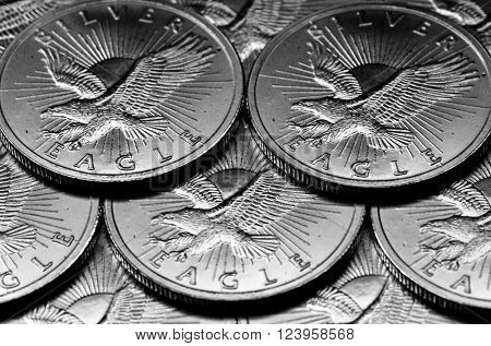 Coins of Silver American Money with word Eagle