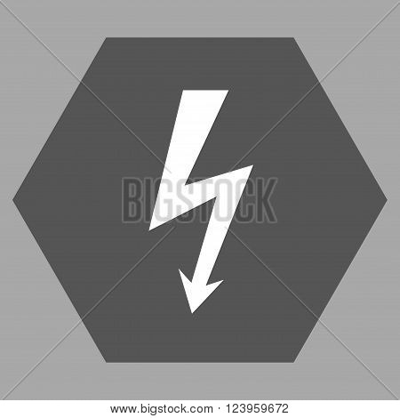 High Voltage vector pictogram. Image style is bicolor flat high voltage icon symbol drawn on a hexagon with dark gray and white colors.