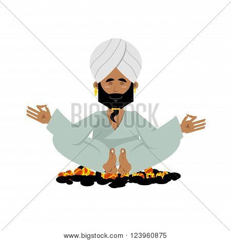 Yogi on coals. Indian yoga sitting on hot coals. Meditation Man practicing yoga exercises.  Indian Yogi in his turban on white background
