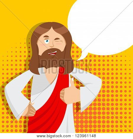 Jesus hands shows thumbs up. Son of God. Signs all right. Thumbs up. Hand showing ok. Gesture of hand. Jesus Christ of Bible character. Holy man