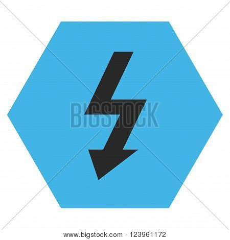 High Voltage vector icon. Image style is bicolor flat high voltage icon symbol drawn on a hexagon with blue and gray colors.