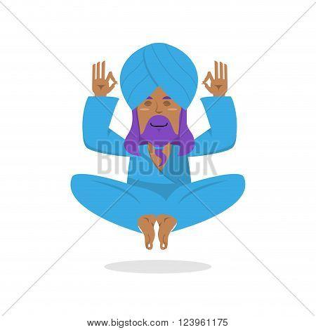 Indian Yogi Meditates. Yogi On White Background. Indian Yoga. Good Yogi In Turban Isolated. Human Kn