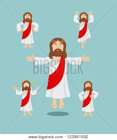 Jesus Christ set of poses. Jesus Holy man set of movements. Son of God is expression of emotions. biblical character. Christian and Catholic character