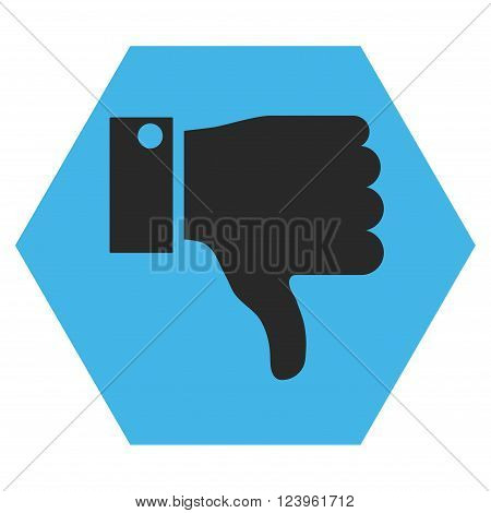 Thumb Down vector icon symbol. Image style is bicolor flat thumb down iconic symbol drawn on a hexagon with blue and gray colors.
