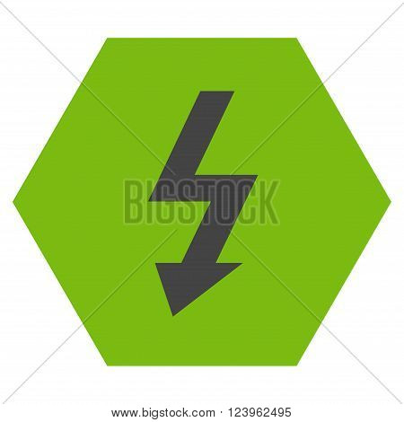 High Voltage vector icon. Image style is bicolor flat high voltage pictogram symbol drawn on a hexagon with eco green and gray colors.