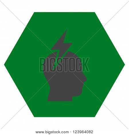 Headache vector pictogram. Image style is bicolor flat headache pictogram symbol drawn on a hexagon with green and gray colors.