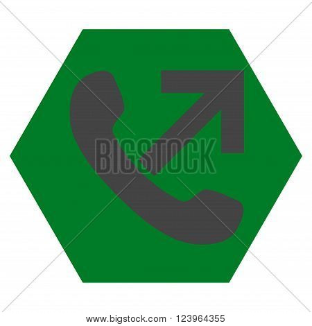 Outgoing Call vector symbol. Image style is bicolor flat outgoing call icon symbol drawn on a hexagon with green and gray colors.