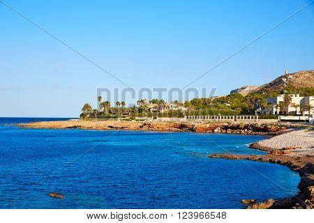 Denia Las Rotas Punta Negra beach in Mediterranean Alicante of Spain