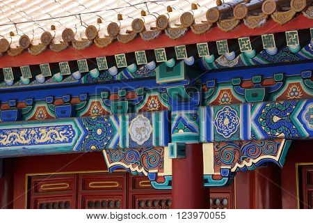 Details of the decorations in traditional roofs at the Palace Museum (Forbidden City) in Beijing, China