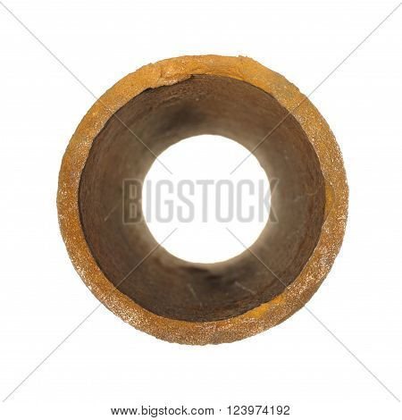 piece of old rusty iron pipes isolated on white background.