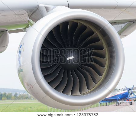 MOSCOW RUSSIA - AUGUST 29 2013: GP7200 jet engines mounted on the Airbus A-380 and have a takeoff thrust 74735 lbf