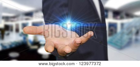 Businessman In His Office With Light