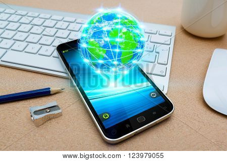 Modern Mobile Phone With Cyber World