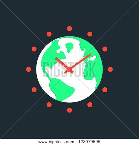 earth hour with green planet. concept of global warming, saving electricity, illumination, wwf power conservation. isolated on dark blue background. flat style trendy modern design vector illustration