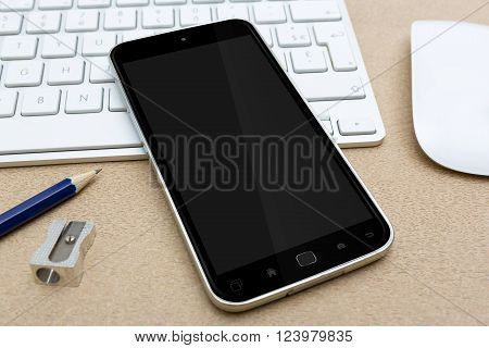 Workplace With Mobile Phone