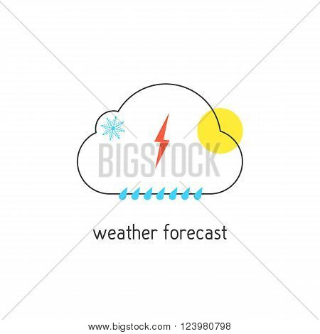 weather forecast logotype with outline cloud. concept of daily forecast, company brand, tv program, weather today. isolated on white background. flat style modern logo design vector illustration