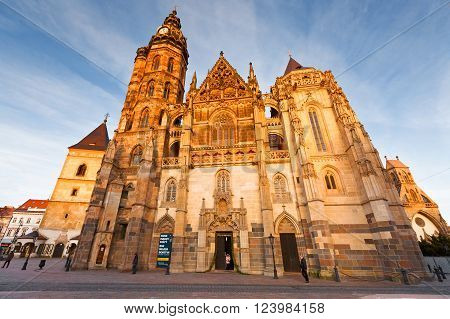 KOSICE, SLOVAKIA - MARCH 19, 2016: St. Elisabeth cathedral and Urban's Tower in the main square of Kosice city in eastern Slovakia on March 19, 2016.