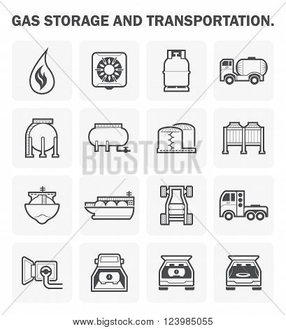 Gas storage and transportation vector icon sets.