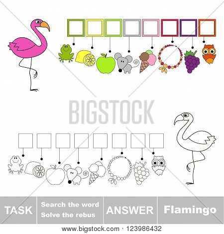 Vector rebus game for children. Find solution and write the hidden word Flamingo