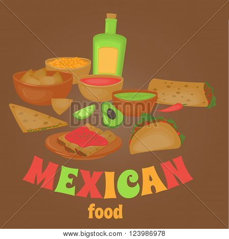 Mexican traditional food set, traditional cusine of Mexico, latino fast food menu takos, burrito, restaurant meal