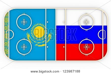 Kazakhstan vs Russia. Ice hockey competition 2016. National flags on playground. 3D rendering